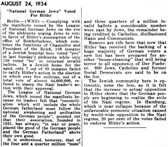 1934 Jews vote Hitler