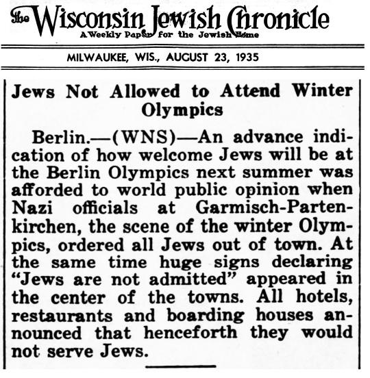 1935 Jewish Nazi Winter Olympics