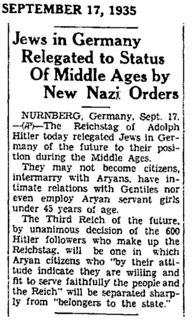 1935 Jewish Laws
