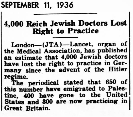 1936 Jews Doctors Emigrated