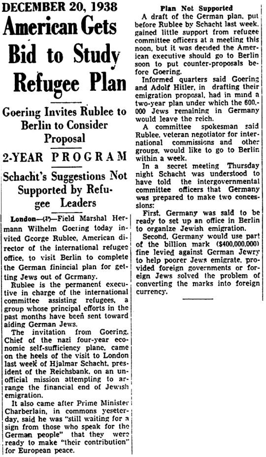 1938 Jewish Refugee Plan