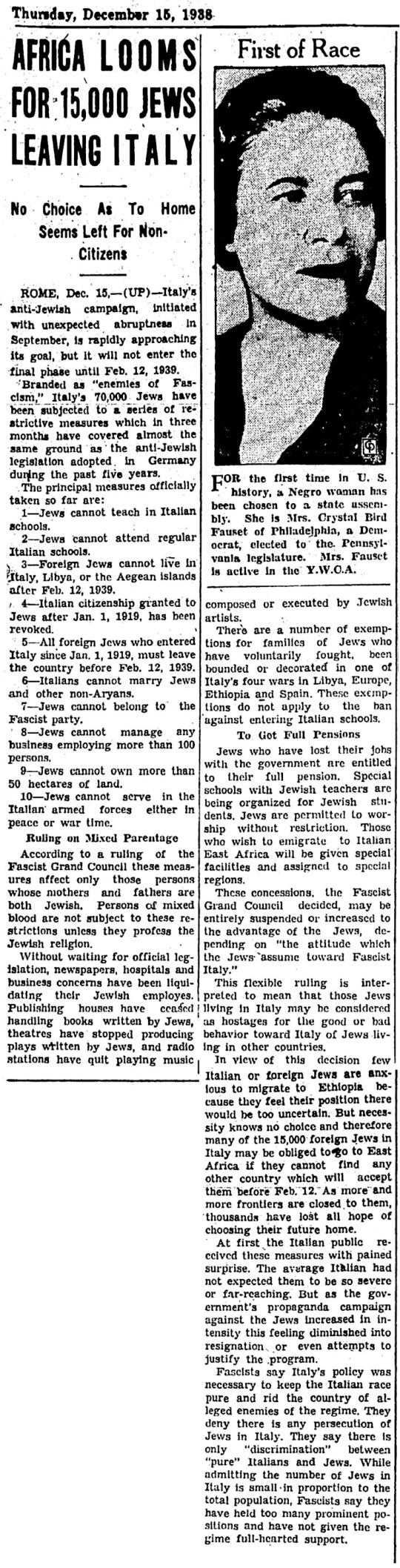 1938 Jews Italy Africa