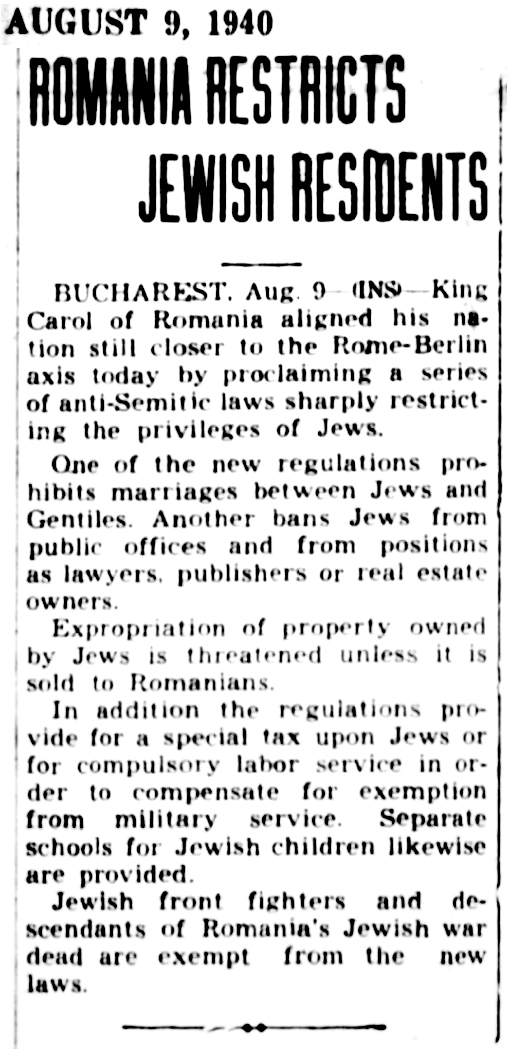 1940 Jews Romania