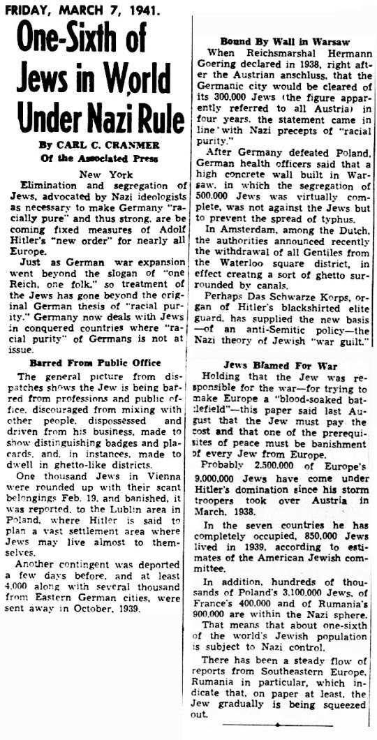 1941 Jews Nazi Rule