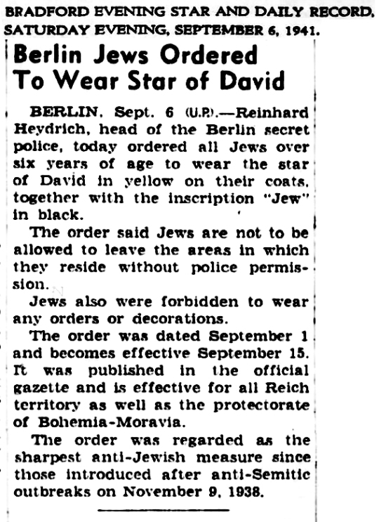 1941 Jews Berlin Wear Star of David
