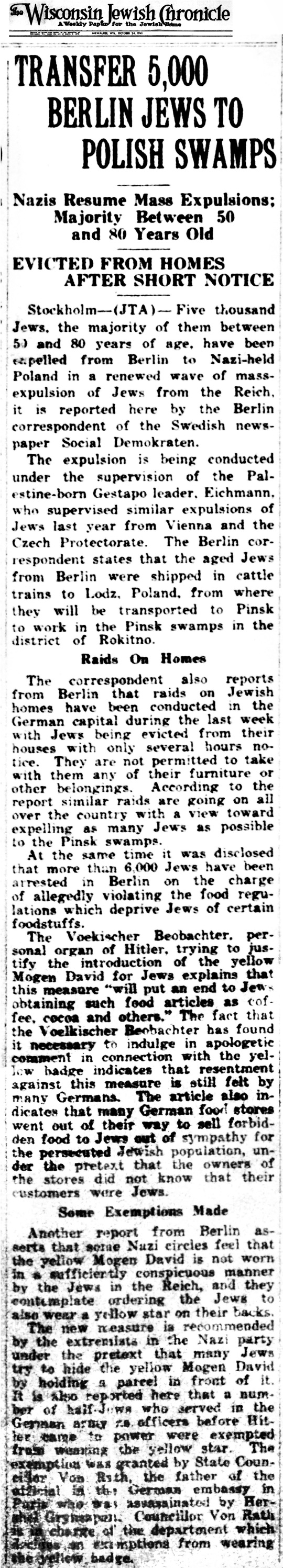 1941 Jews Explelled from Berlin Oct 24 -01