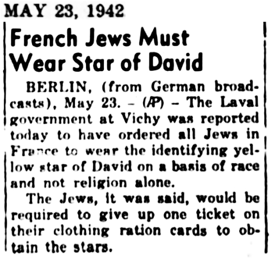 1942 Jews wear star in France
