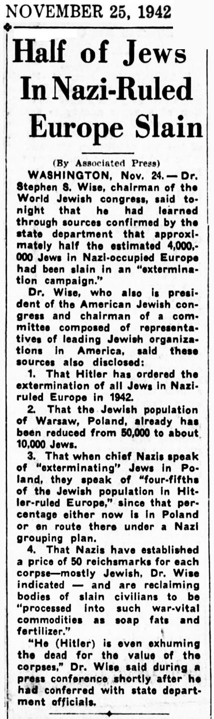 1942 Jews of Europe Slain