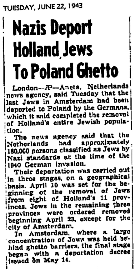 1943 Jews Deported from Holland