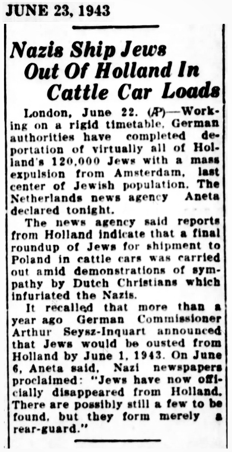 1943 -04 Jews shipped out of Holland