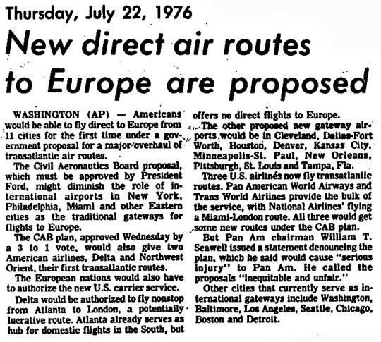 1976 Atlanta Non-Stops to Europe