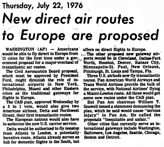 1976 Atlanta Non-Stops to Europe