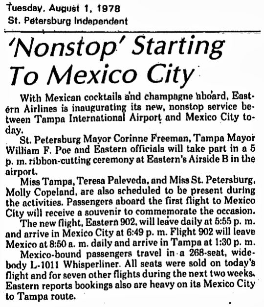 1978 Tampa non-stop Mexico City