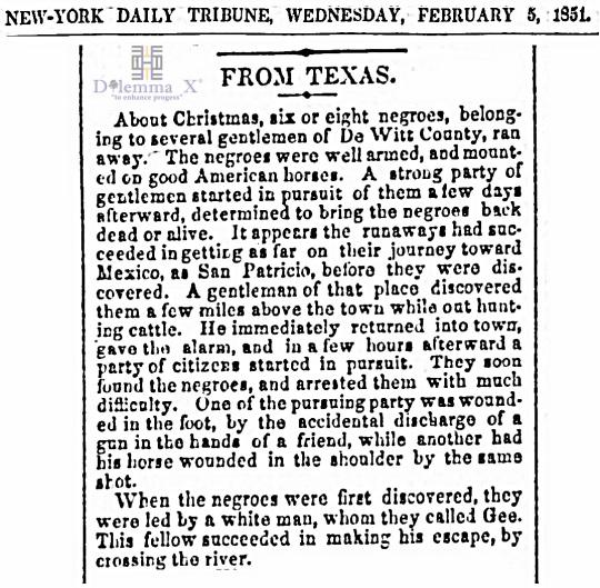 1851 Christmas Slavery Texas