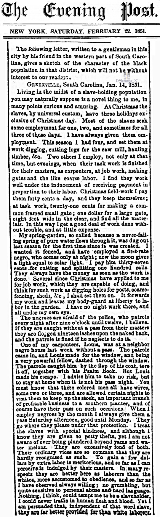 1851 Christmas Slavery