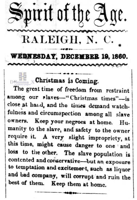 1860 Christmas Slavery