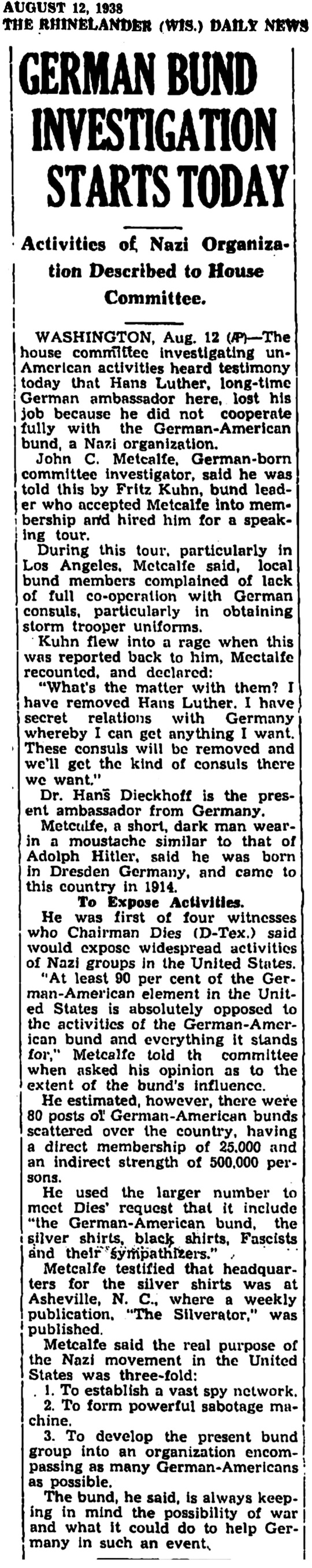 August 12 1938 German Bund