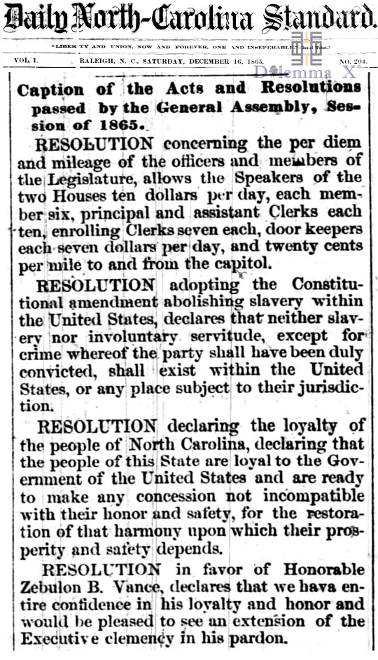 December 16 1865 North Carolina