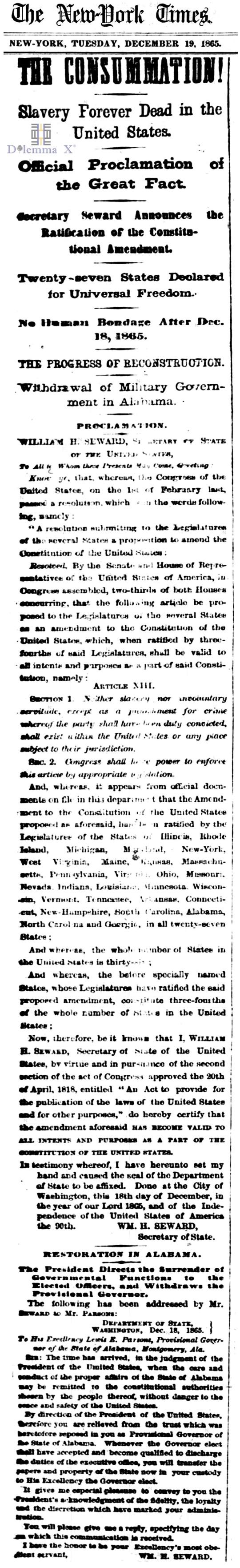 December 19 1865 Slavery