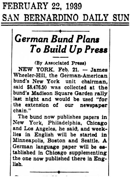 Feb 22 1939 German Bund