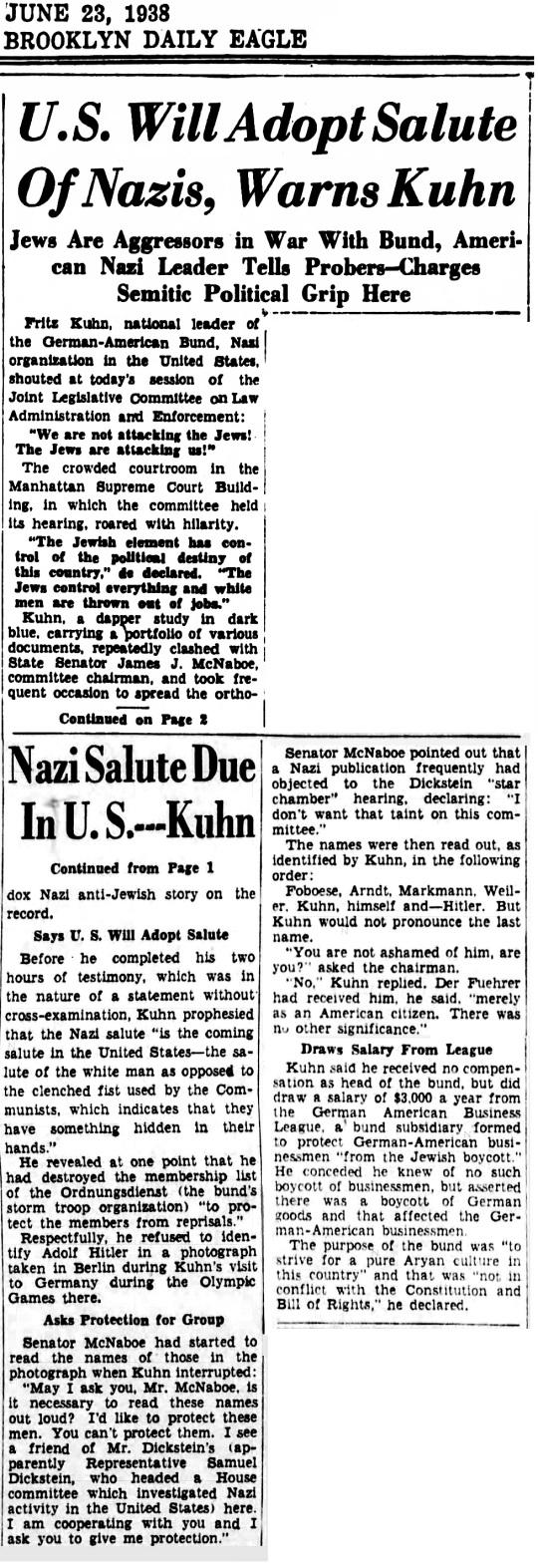 June 23 1938 German Bund