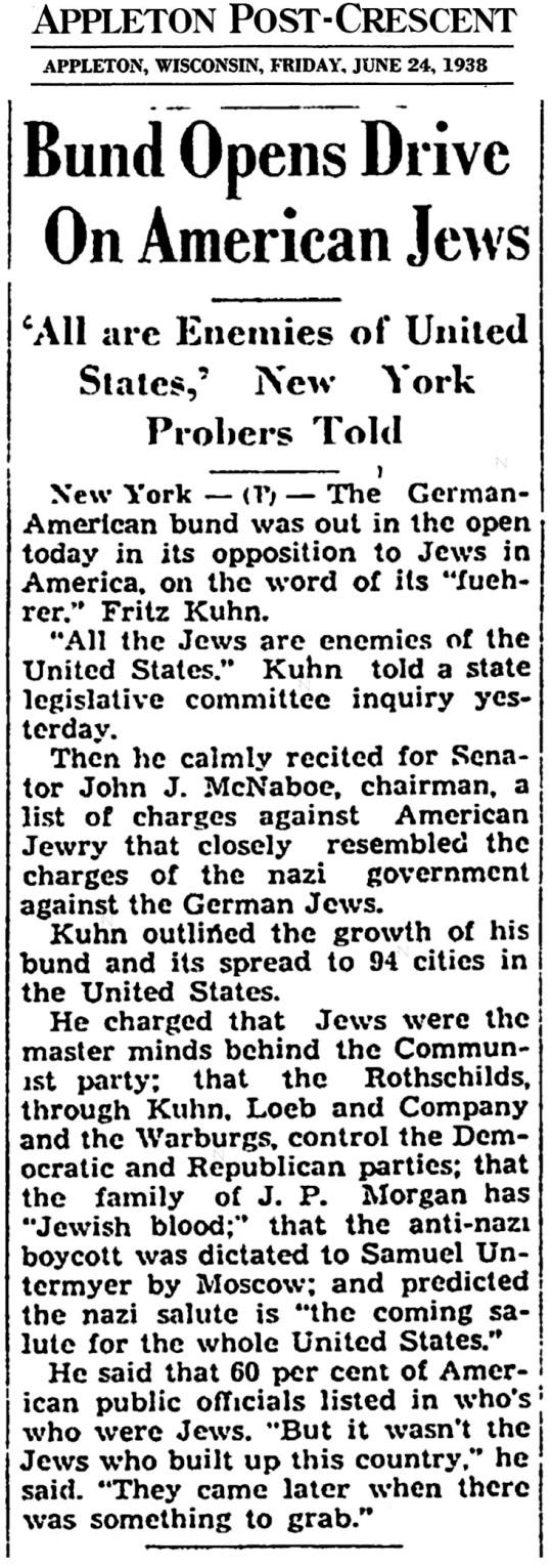 June 24 1938 German Bund