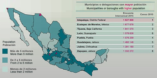 Mexico Census Map 2015