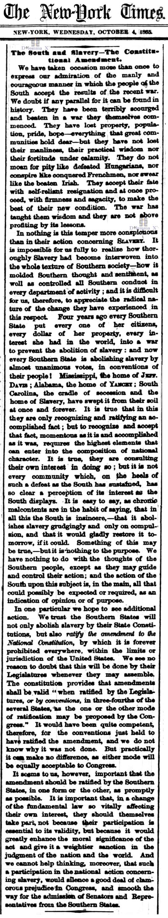 October 4 1865 Constitutional Amendment