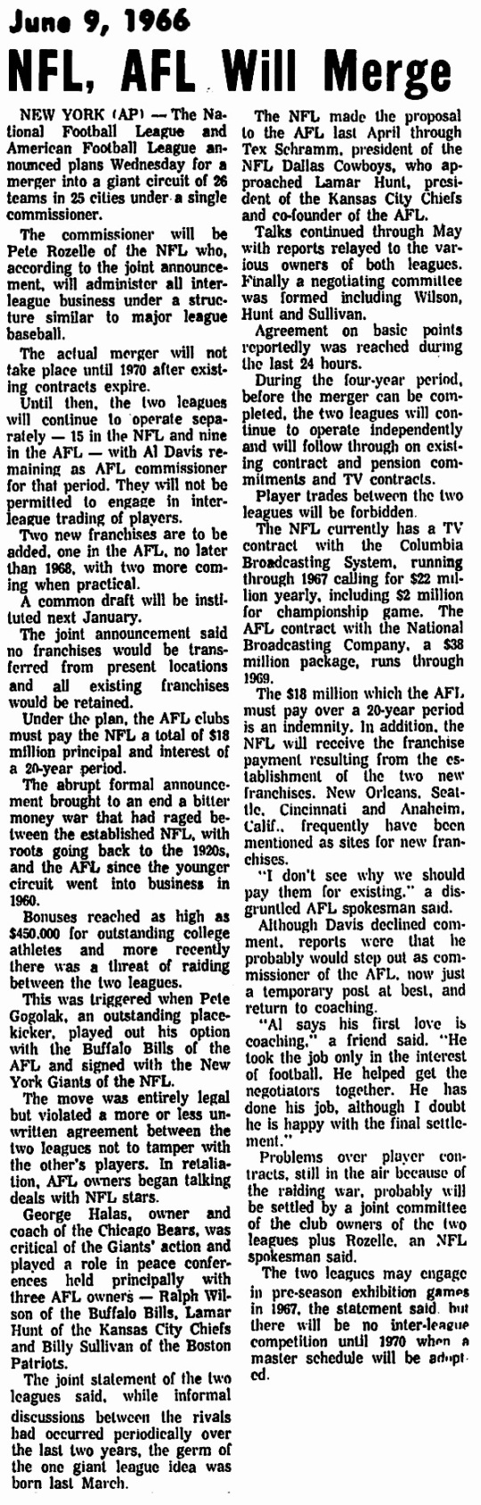 NFL AFL merger 1966