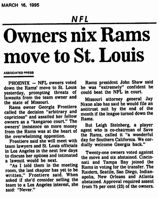 NFL Rams St Louis 1995