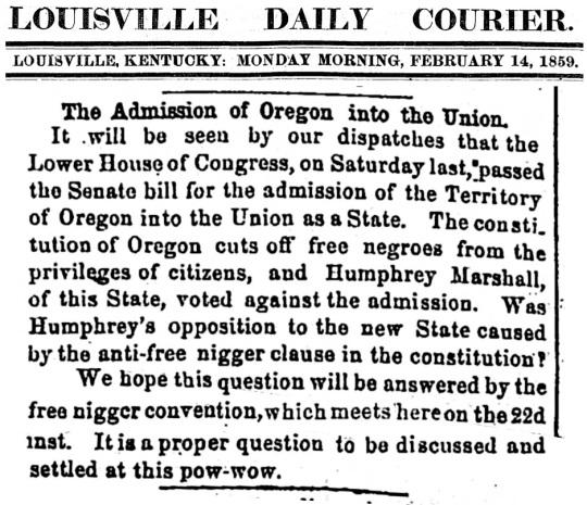 Oregon Feb 14 1859