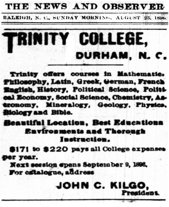 Trinity College 1896