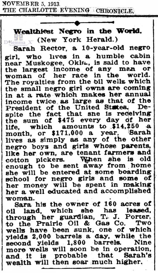 1913 November 5 Sarah Rector