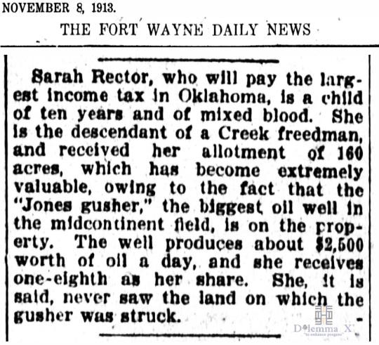 1913 November 8 Sarah Rector