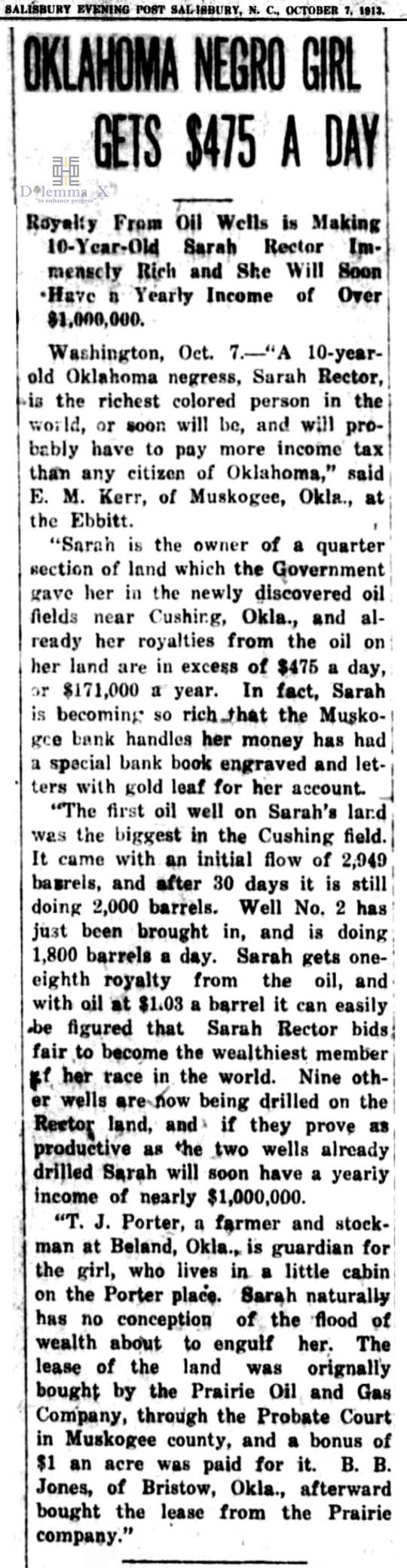 1913 October 7 Sarah Rector