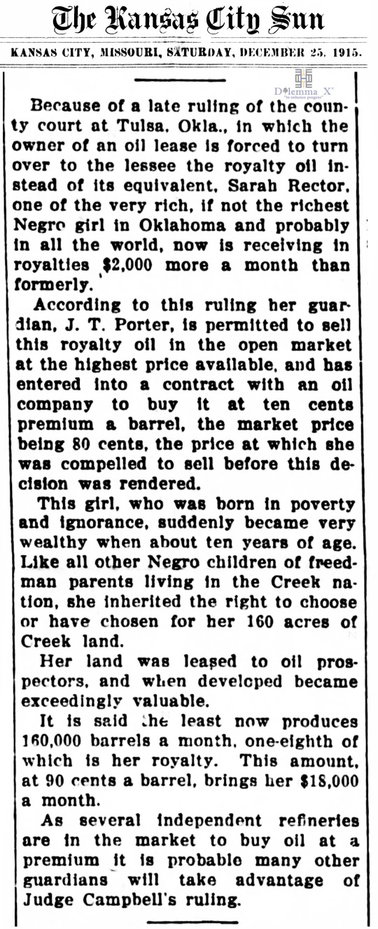 1915 December 25 Sarah Rector
