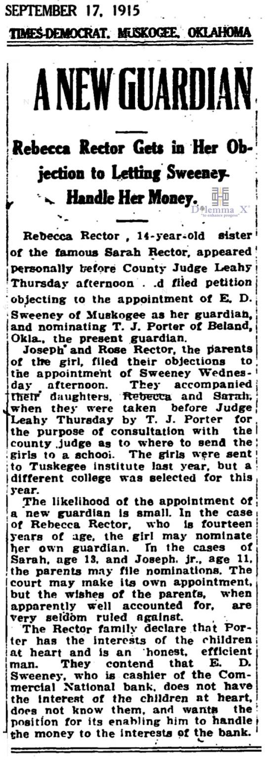 1915 September 17 Sarah Rector