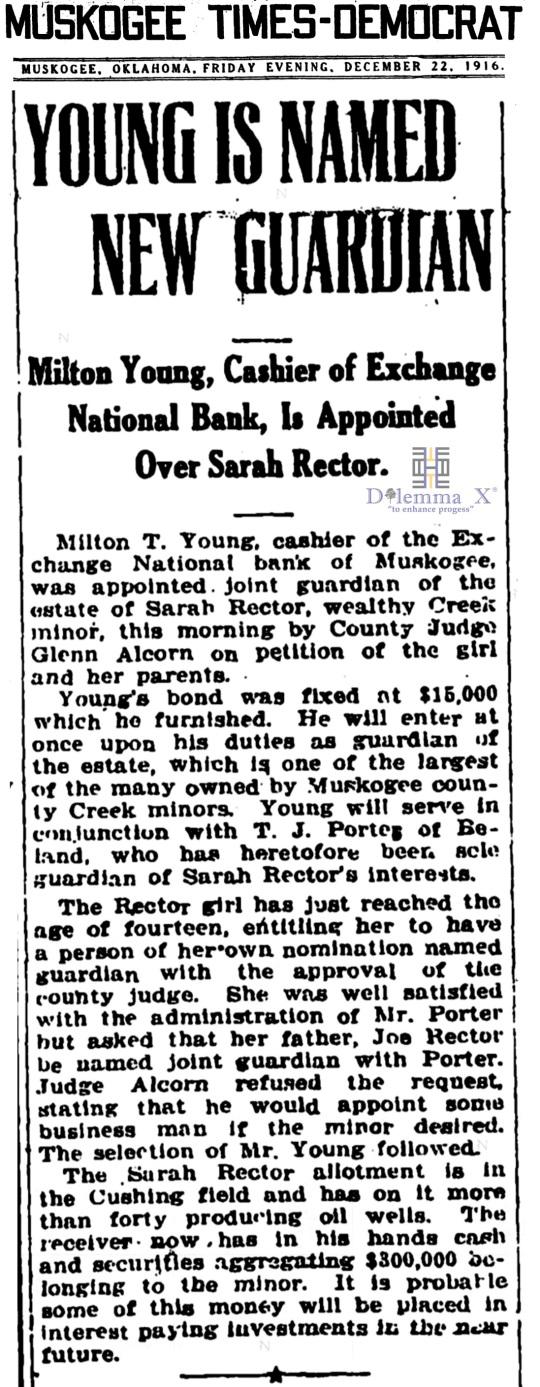 1916 December 22 Sarah Rector