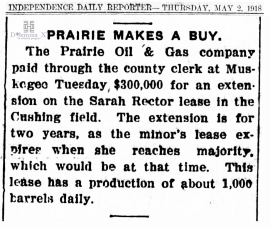 1918 May 2 Sarah Rector