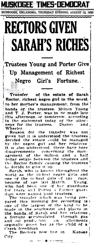 1920 August 12 Sarah Rector