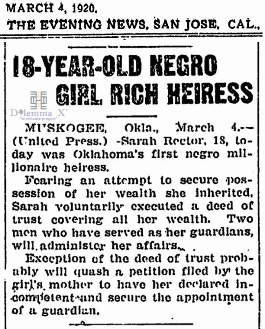 1920 March 4 Sarah Rector