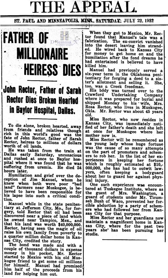 1922 July 22 Sarah Rector