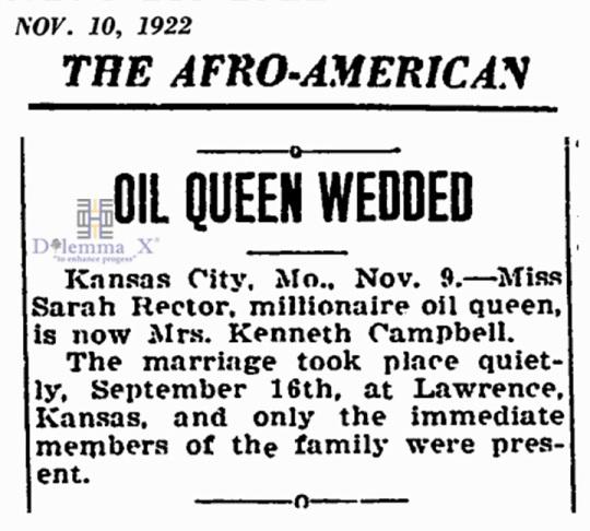 1922 November 10 Sarah Rector