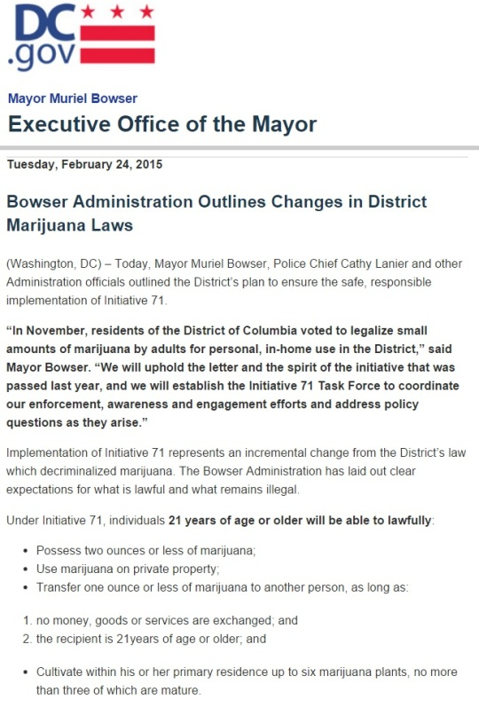 Mayor Muriel Bowser Marijuana Laws