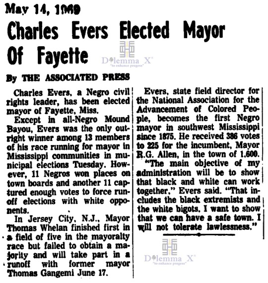Charles Evers First Black Mayor of Fayette Mississippi 1969