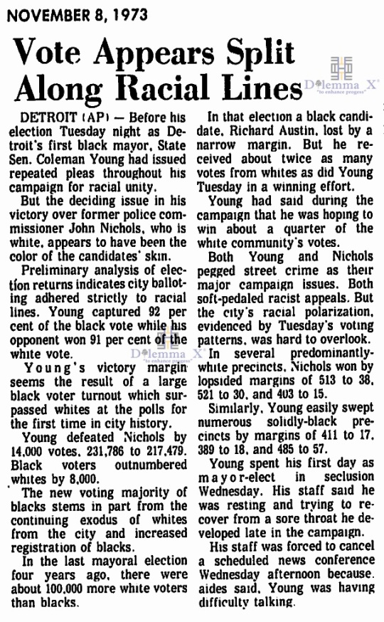 Colman Young Detroit First Black Mayor 1973