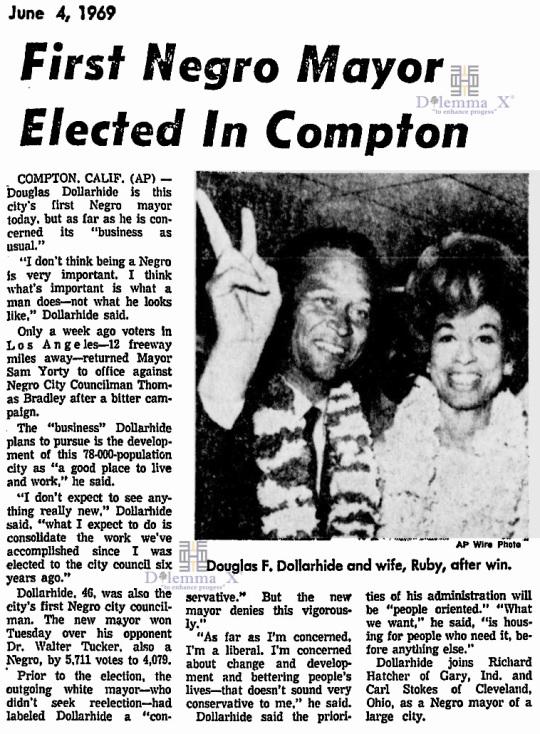Douglas Dollarhide First black mayor Compton 1969