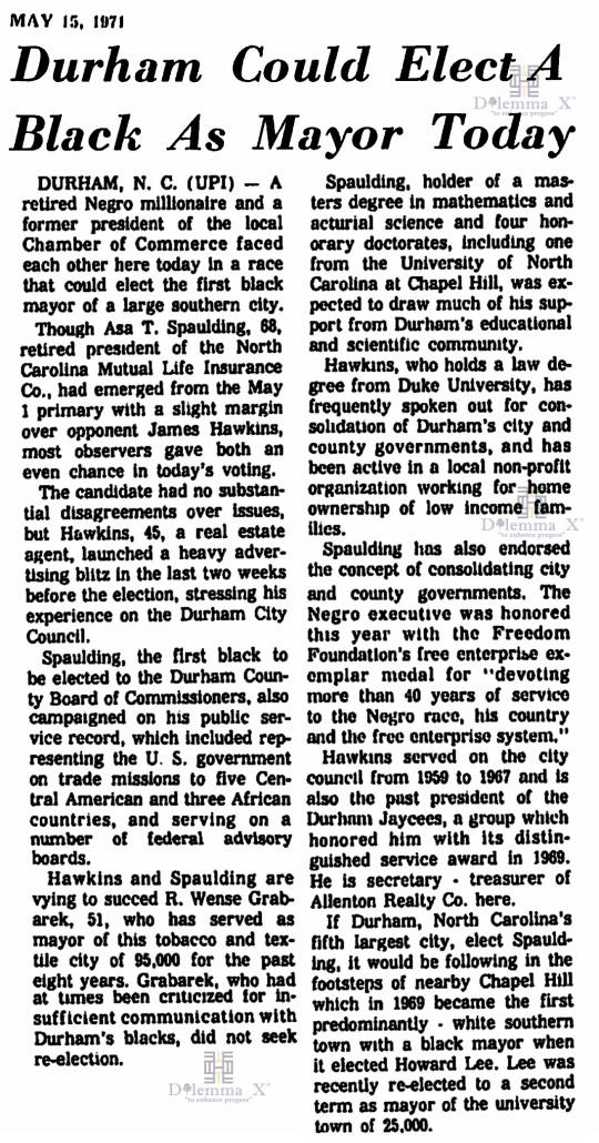 Asa T Spaulding Durham Mayor Election 1971