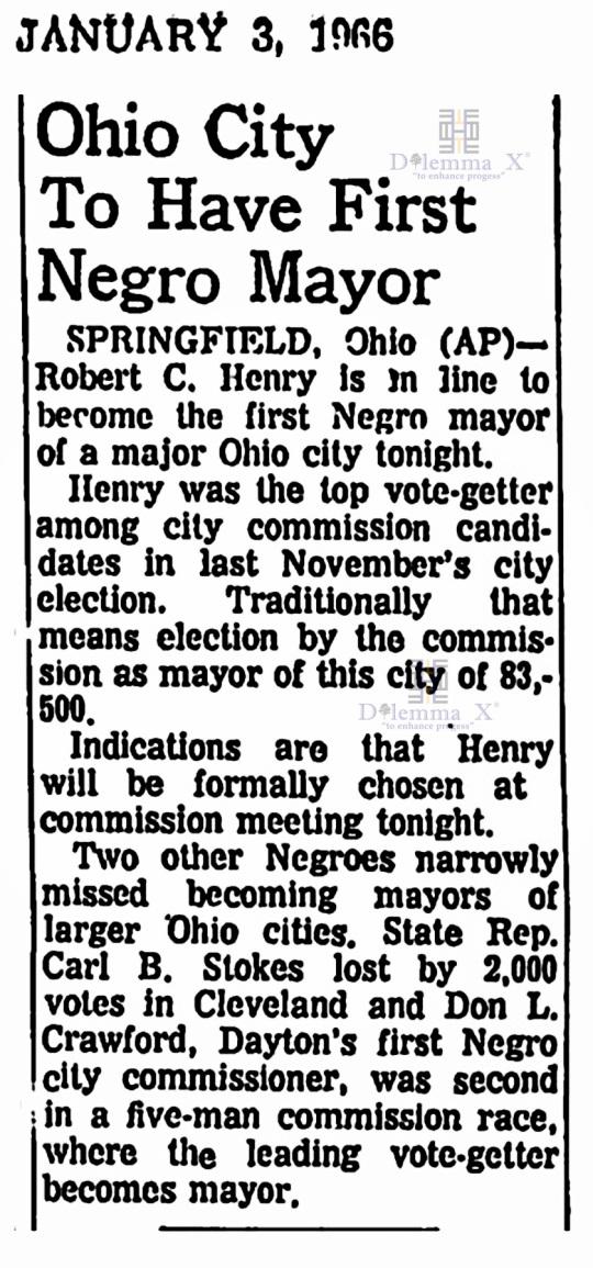 Robert Henry First black mayor Springfield 1966