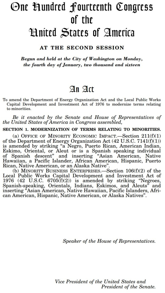 HR 4238 modernize terms relating to minorities